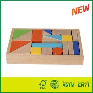 20PCS Birch Wood Children Brick Block Toys Colorful Wooden Blocks