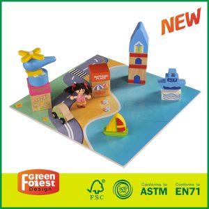 Kids Wooden city block toys set