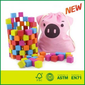 Toy for Kids Learning Resources Wooden Color Cubes 100pcs Intelligence Building Blocks with Non-Toxic Paints