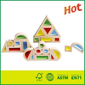 24 PCS Bass wood Toy Kids Education and Building Block Wooden Acrylic Rainbow Block