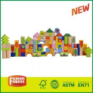 Green Forest Animal Scene Design 100pcs Building Blocks Birch Wood Block Toy,Hot Sale Creative Wooden Blocks for 1-2-3-6 Kids
