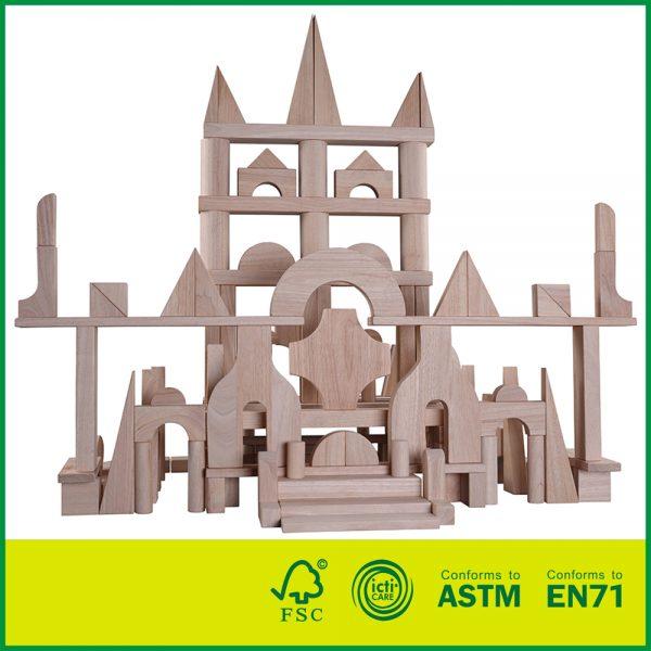 12BLK37A 174pcs Hardwood Deluxe Solid Wooden building Blocks Toy Set