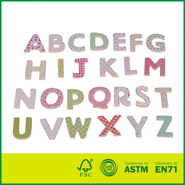 12EDU08 Wholesale Educational Plywood Children Play And Learn 26Pcs Wooden Toys Magnetic Alphabet Letters