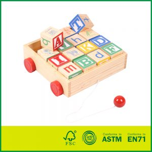 Educational Toy With 16 Solid laser engraved Wood Blocks Classic ABC Wooden Block Cart