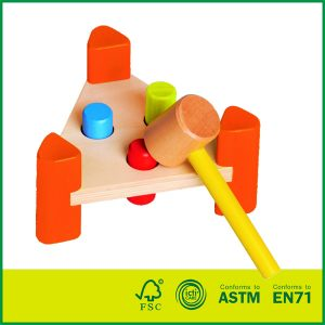 wooden hammer bench toy Wooden Hammer Pounding Bench with 8 Colorful Pegs for Baby Kids Toddlers | Develops Hand-eye Coordination and Fine Motor Skills