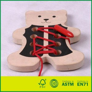 Hand Coordination Development Preschool Educational Toy With Wood Lacing Toy