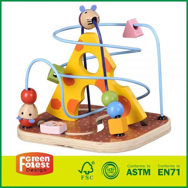 12MAZ11 wooden bead maze roller coaster, wooden bead maze game, wooden bead mazes for toddlers,