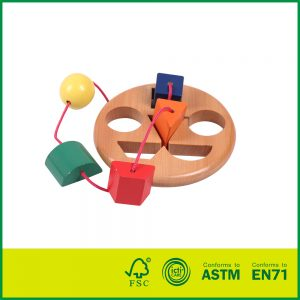 Hot Selling Wooden Learn to Tie Laces Toy For kids learning toys