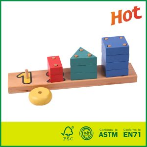 High Quantity Colorful Painted Wood Toy With Peg Board Shapes Puzzle