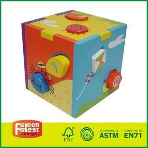 Wooden Educational Shape Sorting Box Shape Sorter Wooden Cube Toy
