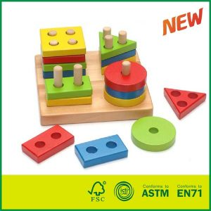 Kids Toys Educational Geometric Sorting Stack Puzzle Wooden Shape Sorter