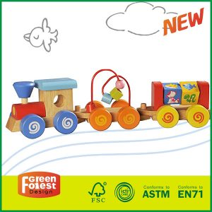 Hot Selling Wooden Stacking Block Train with Bead Maze for Kids Toy Import