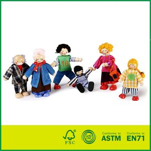 Poseable Doll Family for Dollhouse - 1:12 Scale