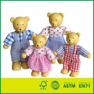 Lovely Little Bear Family Mini Wood Bear Doll Toy Family Wooden Dolls