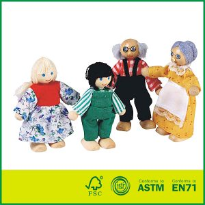 Traditional Wooden Doll Puppet Cute Kid Wooden Doll House Family Set