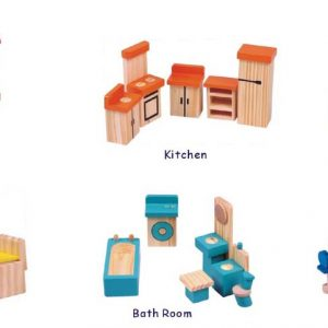 Cheap Price 40pcs Pine Wood Doll Toys For Kids Wooden Doll Furniture And Accessories