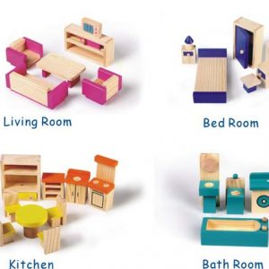 Good Sale 25 Pcs Pine Wood Kids Educational Toys Role Play Wooden Furniture Non-toxic Doll Furniture