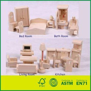 Hot Selling 26 PCS Doll House Furniture for Children Toy Wooden Toy Furniture