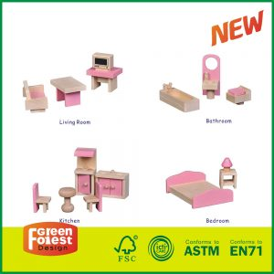Wooden 4 Rooms Miniature Doll House Furniture Modern Doll Furniture