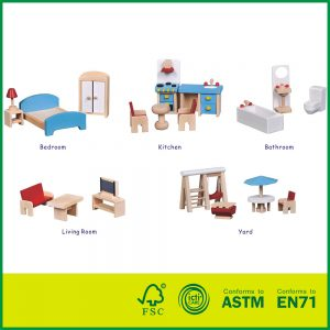 Hot Sales Nature wood Pretend Play Kids Toys With Miniature Furniture Dollhouse