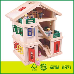 Best Gifts For Children Deluxe Wood Standing House Toys Kit With Kids Doll House