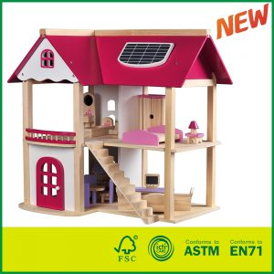 Pretend Play Game Wooden Toy Doll House with 19 Pieces of Furniture Accessories for kids doll house kits to build, dollhouse, dollhouse miniature