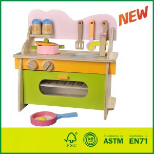 Non-Toxic Colorful Pretend Cooking Play for Toddlers With Wooden Kitchen Toy
