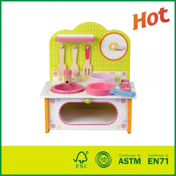 Best Price Pretend Wooden Toys Mini Kitchen Set For Kids Green
