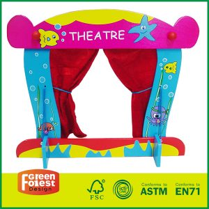 Standing Tabletop Kids Theater Fold-able And Easy to Store With Wooden Puppet Theater