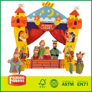Wooden Toys Castle Finger Puppet Home Theatre for Kids