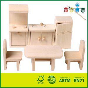 Handmade Educational Woodcraft Set With Kitchen room Miniature DIY Kit