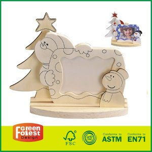 Hot selling Craft Wooden Toys Plywood Wooden Chrismas Photo Frames for Kids Painting Diy Toys