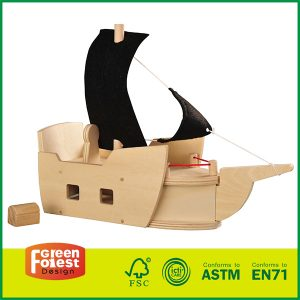 Toys for kids Natural Wood Puzzle With Assembly DIY Wooden Pirate Ship