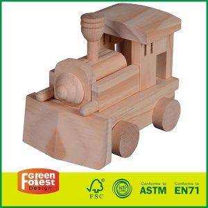 Best Selling Pine Wooden Craft Truck Handmake Train Engine for Kids Assembly Toy