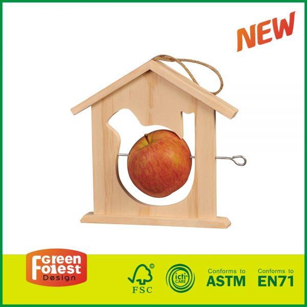 20BID03 Wholesale Apple Wood Educational Outdoor Kids Play Wooden Bird Houses and Feeders Set DIY Wood Craft