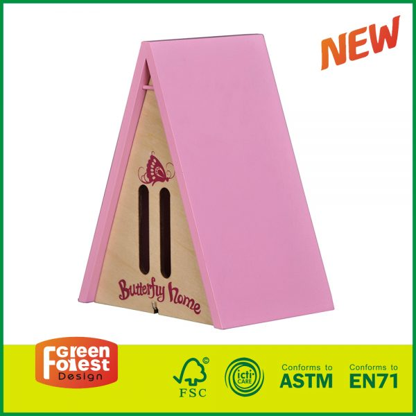 20DIS14B 2017 Wholesale Wooden Triangle Wood Butterfly House for Kids Outdoor Toys