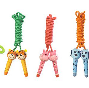 Animal Design Cute Jumping Rope with Wooden Handle Skipping Rope