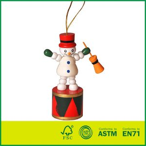 Wholesale Kids Play Christmas Wooden Toys For Chlidren Non-toxic Painted Wooden Snowman Toy